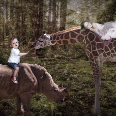 Esme Van with giraffe and rhyno