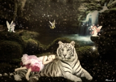 Esme with white tiger